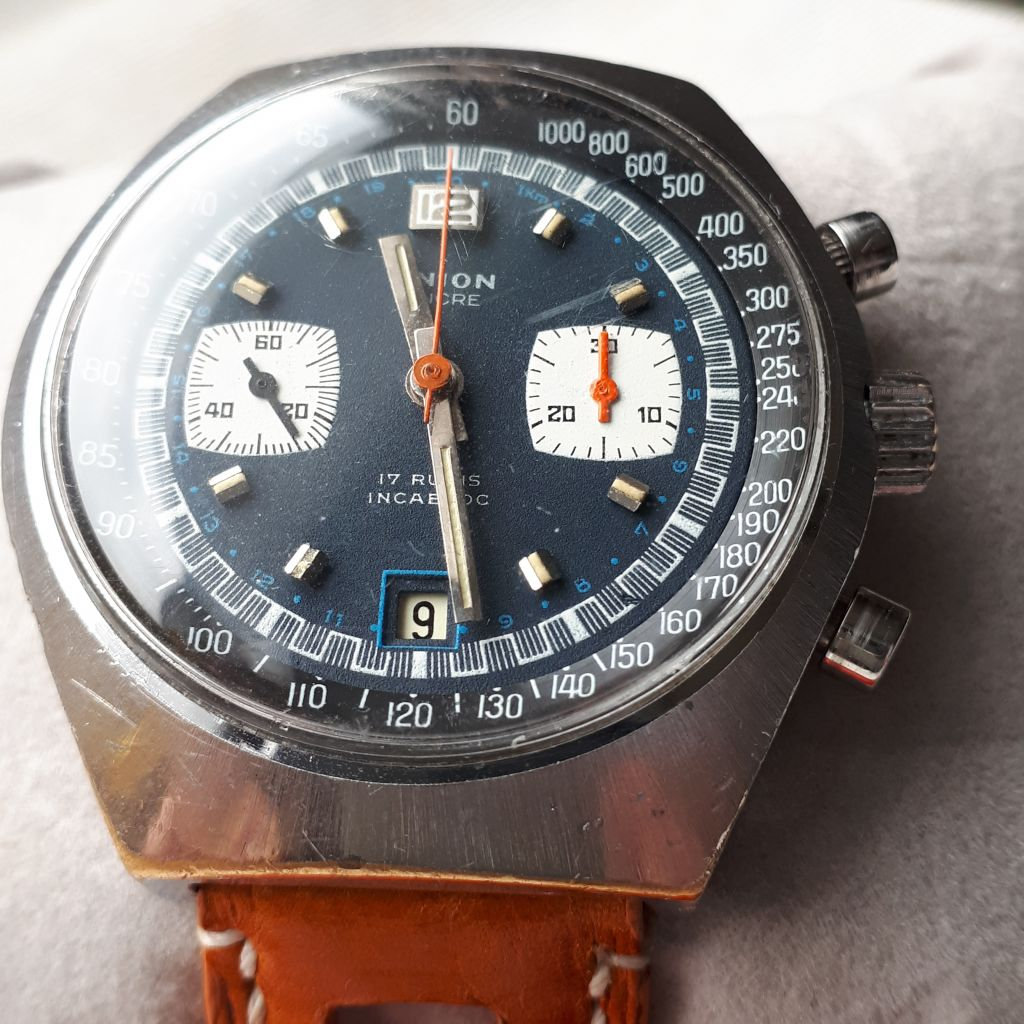 UNION chronograph (Breitling Datora style) Valjoux 7734 by 1970